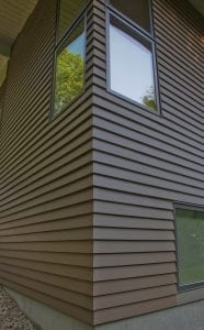 modern home with retro touches and Hardie plank siding